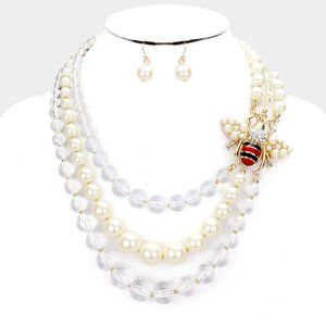 Honey Bee Triple Layered Pearl Necklace & Earrings